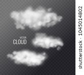 set of transparent white clouds ... | Shutterstock .eps vector #1045014802
