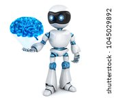 white robot and abstract blue... | Shutterstock . vector #1045029892