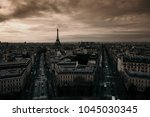 sunset over paris from the... | Shutterstock . vector #1045030345