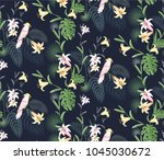 tropical seamless pattern with... | Shutterstock .eps vector #1045030672
