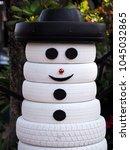 Old Tire Design Snowman