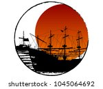 black silhouette of two pirate...   Shutterstock .eps vector #1045064692