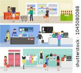 people shopping in supermarket  ... | Shutterstock .eps vector #1045080088