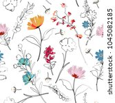 trendy bright summer blooming... | Shutterstock .eps vector #1045082185