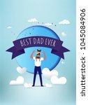 daddy with daughter on... | Shutterstock .eps vector #1045084906