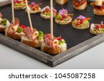 different types of  snacks and... | Shutterstock . vector #1045087258