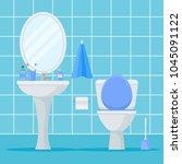 illustration of bathroom... | Shutterstock . vector #1045091122