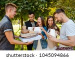 food for friends. students are... | Shutterstock . vector #1045094866
