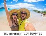 crazy couple in love having fun ... | Shutterstock . vector #1045099492