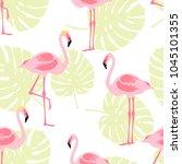 seamless pattern pink flamingo... | Shutterstock .eps vector #1045101355