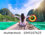 happy traveler woman in summer... | Shutterstock . vector #1045107625