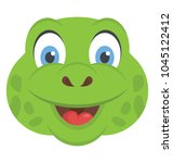 A Cute Smiling Turtle Head With ...