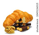 croissant with chocolate and... | Shutterstock .eps vector #1045126315