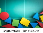 colourful wood blocks stack... | Shutterstock . vector #1045135645