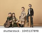 two beautiful teen girls and... | Shutterstock . vector #1045137898