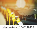 shot of graduation hats during... | Shutterstock . vector #1045148455