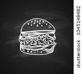 hand drawn chalk sketch on... | Shutterstock .eps vector #1045148482