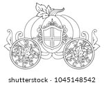 hand drawn horse carriage of... | Shutterstock .eps vector #1045148542