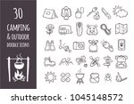 camping and hiking equipment... | Shutterstock .eps vector #1045148572