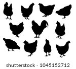 set of realistic silhouettes... | Shutterstock .eps vector #1045152712