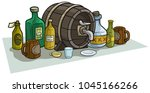 cartoon colorful wooden barrel  ... | Shutterstock .eps vector #1045166266