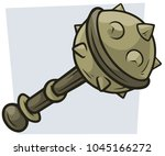 cartoon big combat mace vector... | Shutterstock .eps vector #1045166272