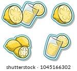 cartoon glass with fresh... | Shutterstock .eps vector #1045166302