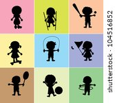 happy children  with sports and ... | Shutterstock .eps vector #104516852