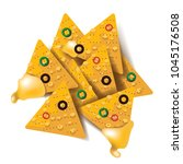nacho tortilla chips with... | Shutterstock .eps vector #1045176508