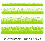 green grass silhouette borders... | Shutterstock .eps vector #1045177675