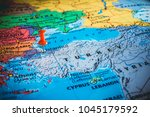 map of turkey istanbul in the... | Shutterstock . vector #1045179592