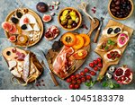 appetizers table with italian... | Shutterstock . vector #1045183378