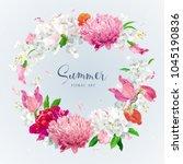 vintage floral vector wreath... | Shutterstock .eps vector #1045190836