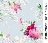 vintage floral vector seamless... | Shutterstock .eps vector #1045191868