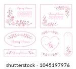 full bloom pink sakura flower... | Shutterstock .eps vector #1045197976