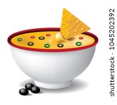nacho tortilla chips with... | Shutterstock .eps vector #1045202392