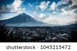 antigua guatemala skyline view...   Shutterstock . vector #1045215472