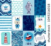 set templates banners or cards... | Shutterstock .eps vector #1045216018