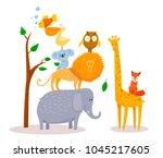cute funny cartoon animals lion ... | Shutterstock .eps vector #1045217605