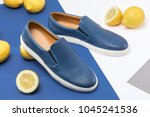 stylish men's summer shoes on a ... | Shutterstock . vector #1045241536