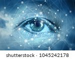 eyes looking at network... | Shutterstock . vector #1045242178