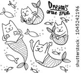 cartoon doodle cat mermaid and... | Shutterstock .eps vector #1045242196