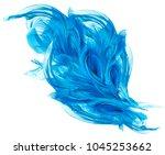 flying blue fabric  waving... | Shutterstock . vector #1045253662