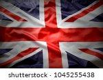 closeup of union jack flag  | Shutterstock . vector #1045255438