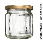 closed empty glass jar with...   Shutterstock . vector #1045255846