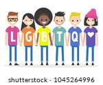 lgbtq sign. a group of people... | Shutterstock .eps vector #1045264996