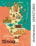 illustrated map of tunisia....   Shutterstock .eps vector #1045272802