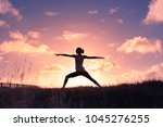 woman outdoors  exercise ... | Shutterstock . vector #1045276255