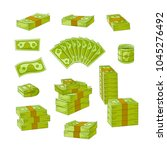 vector flat cash money piles ... | Shutterstock .eps vector #1045276492