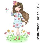 hand drawn beautiful cute... | Shutterstock .eps vector #1045278112
